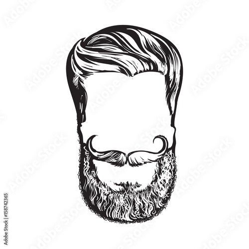 Hand Drawn Hipster Hairstyle Beard And Mustache Sketch Style