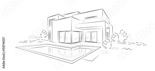 Linear architectural sketch modern detached house