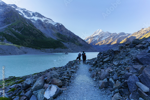 Canvas Prints New Zealand Hooker lake with Icebergs floating on and Aoraki / Mount Cook , the destination of Hooker walking track , The Aoraki/Mount Cook National Park , South Island of New Zealand