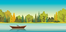 Autumn Landscape - Boat, Lake, Forest.