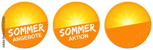Photo Button Set mit strahlender Sonne - Sommer Angebote / Sommer Aktion