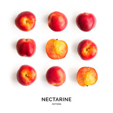 Seamless Pattern With Nectarine. Tropical Abstract Background. Nectarine On White Background.
