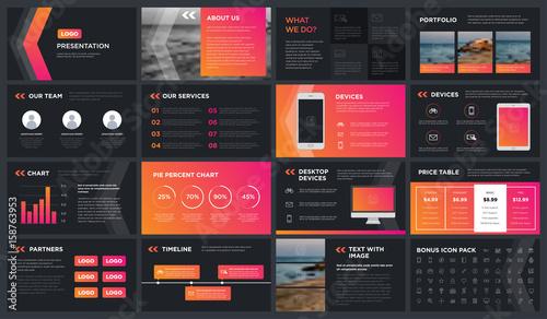 Fototapeta Minimal Modern dark gradient presentation template. You can use it presentation, flyer and leaflet, corporate report, marketing, pitch, annual report, catalog. obraz