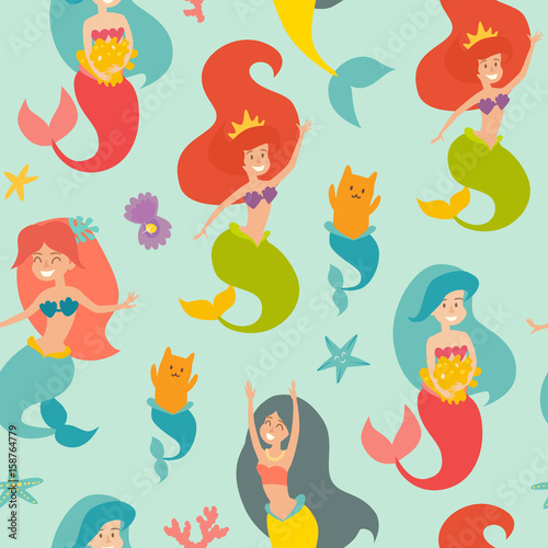 Cotton fabric Marine vector pattern. Seamless pattern with cute mermaids, cat, pearl and starfish. Design for wrapping, fabric, textile. Sea background with cute mermaid girls