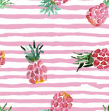 The seamless pink pattern of fresh fruit pineapple. Hand drawn watercolor painting on white background. - 158764991