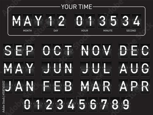 Retro flip score board. Clock and calendard. Black with white text.