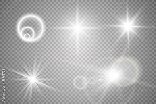 Photo  Set of golden glowing lights effects isolated on transparent background