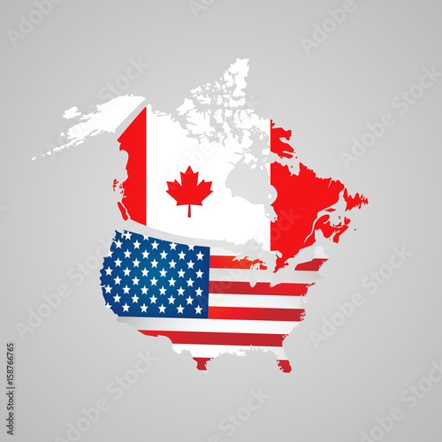 North American country set with map pointers. Canada, USA map, flags ...