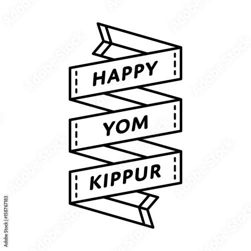 Obraz na płótnie Happy Yom Kippur emblem isolated vector illustration on white background
