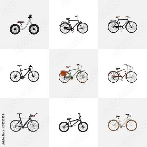 Deurstickers Fiets Realistic Old, Hybrid Velocipede, Working And Other Vector Elements. Set Of Bicycle Realistic Symbols Also Includes Bike, Postman, Retro Objects.