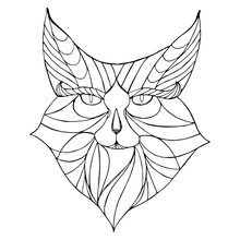 Ethnic Animal. Tribal Patterned Wild Cat. Cat Head. Caracal. Lynx. Hand Drawn Illustration In Zentangle Style - Vector Illustration