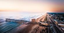Ocean Beach Aerial Drone Shot