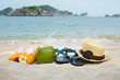 Summer accessories on the beach