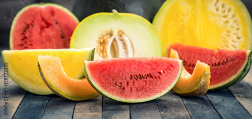 Fresh watermelons and melons Wallpaper Mural