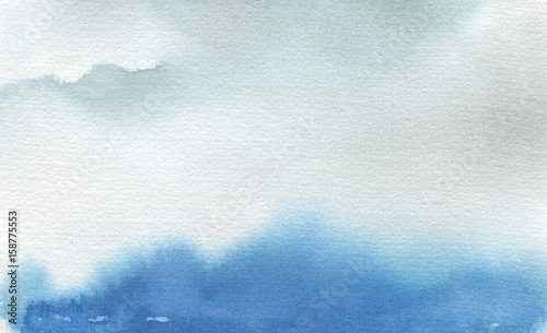 Abstract watercolor landscape blot painted background. Texture.