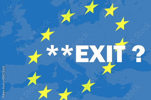 Poster Northern Europe Brexit, frexit. The policy of the European Union. Exit from the European Union.