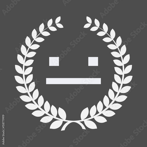 Isolated laurel wreath with a emotionless text face Slika na platnu