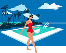 Beautiful Woman In Retro Swimsuit Posing At A Pool With A Beach Tote, EPS 8 Vector Illustration