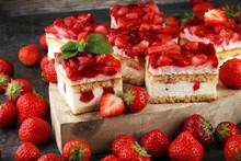 Strawberry Cake And Many Fresh Strawberries On Grey Background