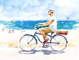 Mężczyzna na rowerze lato plaża scena akwarela ilustracja ręcznie malowane - 158801958