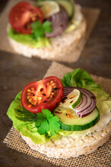 Healthy food - sandwiches, rice cakes with lettuce, tomato, cucumber, onion and parsley