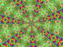 Green And Purple Kaleidoscope Mandala