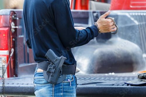 Staande foto Dragen Carry a police gun,gun, carry.