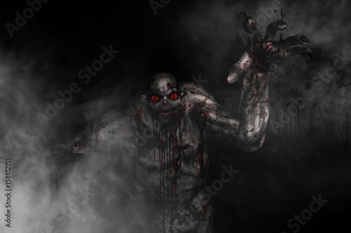 Fototapeta Bloody creature out from the wood,3d illustration