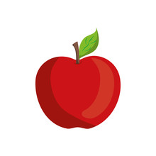 Apple Fruit Icon Over White Ba...
