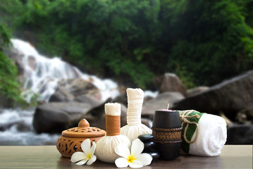 Spa treatment and massage in the waterfall nature, Thailand soft and select focus