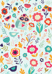 Seamless pattern with cute raccoon and flowers