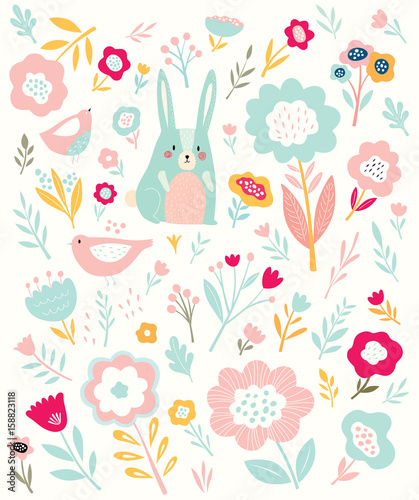Pattern with little bunny and flowers