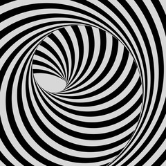 Tunnel. Black and white abstract striped background. Optical art. 3D vector illustration.