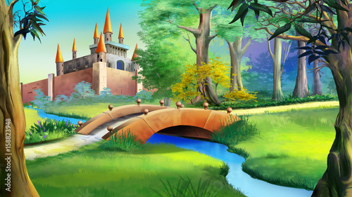 Landscape with fairy tale castle and small bridge over the river.