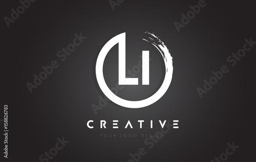 LI Circular Letter Logo with Circle Brush Design and Black Background Canvas Print
