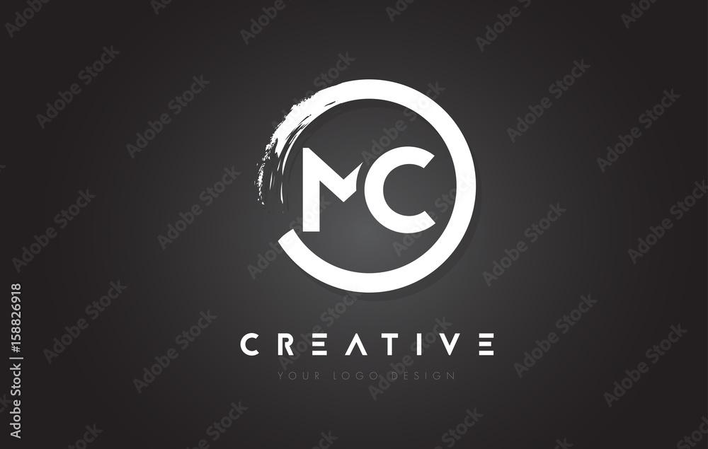 Fototapeta MC Circular Letter Logo with Circle Brush Design and Black Background.