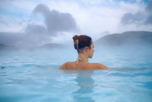 Woman Enjoys Spa In Geothermal...