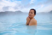 Woman Enjoys Spa In Geothermal...