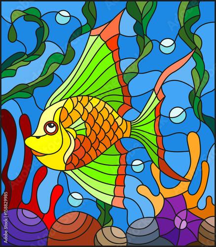 ilustracja-w-stylu-witrazu-z-abstrakcyjnych-kolorowych-egzotycznych-ryb-wsrod