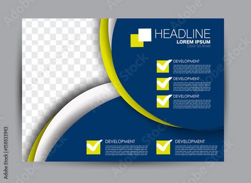 Poster Bleu nuit Flyer, brochure, billboard template design landscape orientation for education, presentation, website. Blue and yellow color. Editable vector illustration.