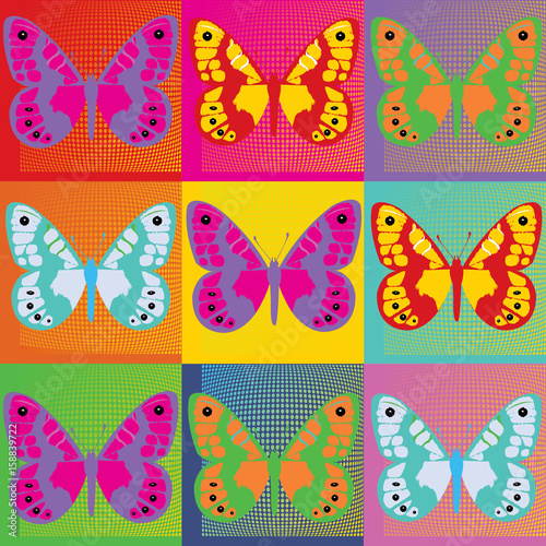 Set of colored butterflies  Pop Art Andy Warhol Canvas Print