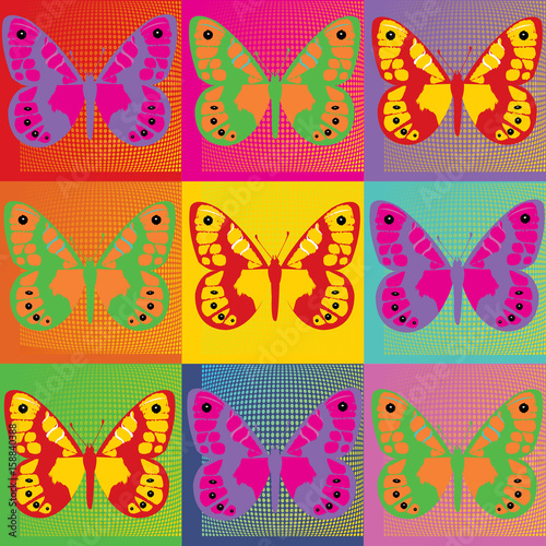 Fotografie, Obraz  Set of colored butterflies  Pop Art Andy Warhol