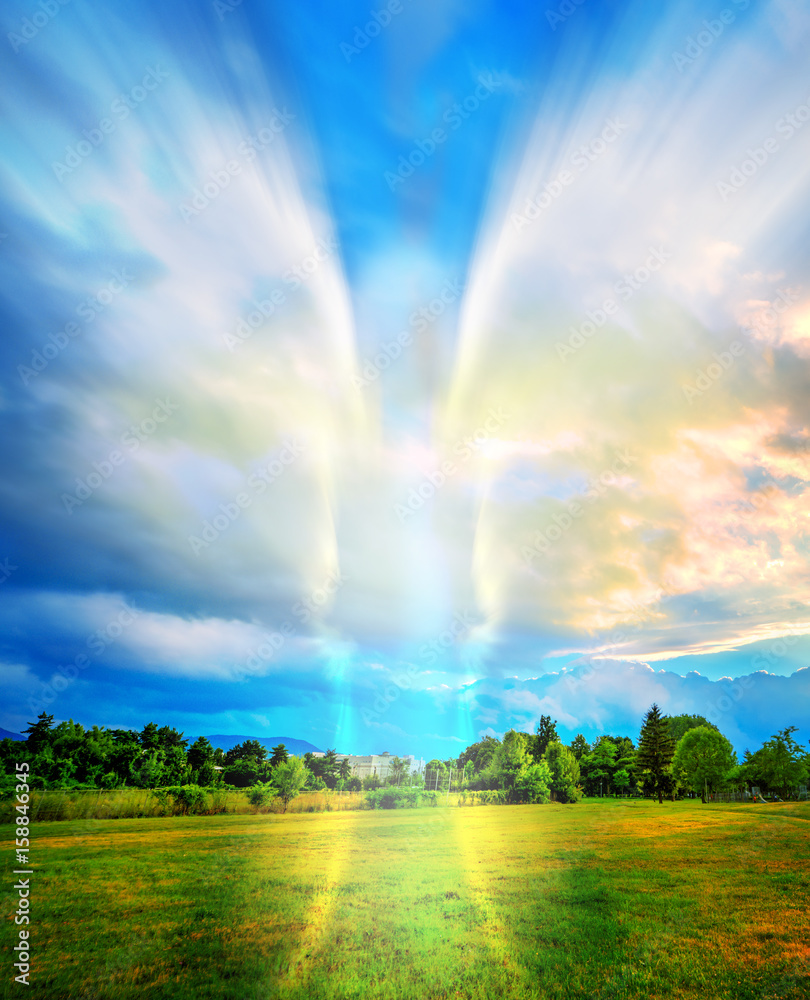 Beautiful background with an abstract angel on landscape