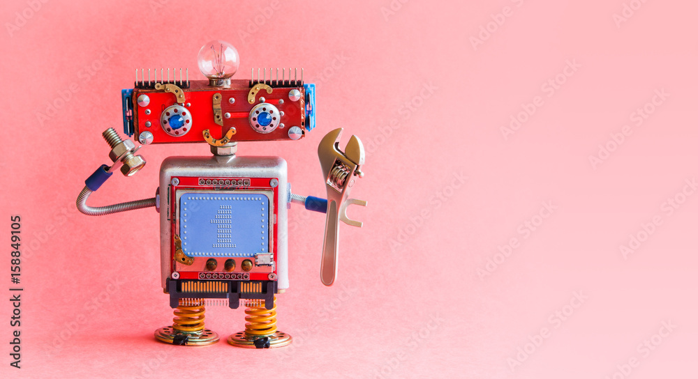 Fototapety, obrazy: Robot handyman spanner wrench bolt nut in hands. Mechanical cyborg toy, red head, light bulb, monitor body text 1 on blue background. Automation robotic process concept. Pink background, copy space