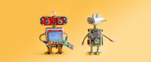 Robots On Yellow Background. 4th Industrial Revolution Automation Concept. Computer Service Maintenance, Repair Fix. IT Cyber Specialist, Smiley Red Head, Usb Flash Stick, Quote Hello. Copy Space