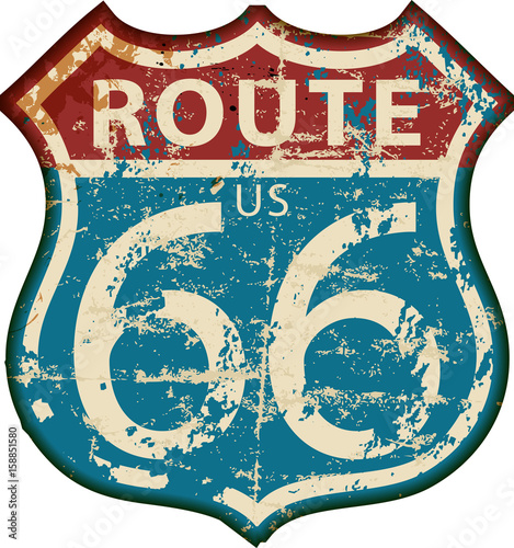 Photo  vintage route 66 road sign,retro grungy vector illustration