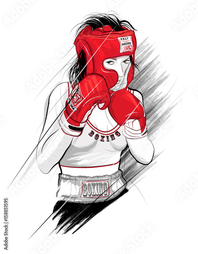 Tuinposter Art Studio Thai boxing, woman fighting - Vector illustration