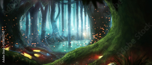 Tuinposter Zwart Illustration fantasy forest