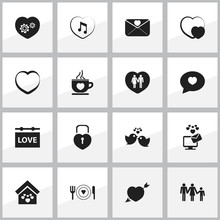 Set Of 16 Editable Heart Icons...