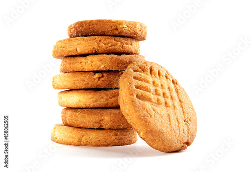 Homemade round butter cookies or biscuit with peanut isolated on white background